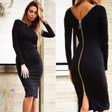 Black Dress Long Sleeve Party Women - Apparel - Dresses - Evening