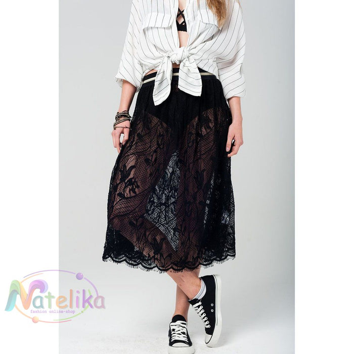 Black Lace Midi Skirt Women - Apparel - Skirts - Mini