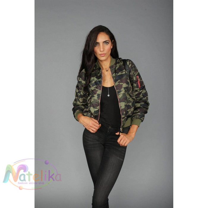 Camo Bomber Jacket Women - Apparel - Outerwear - Jackets