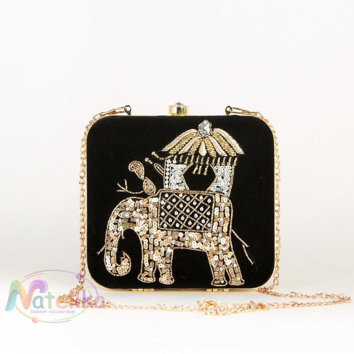 Evening Party Clutch With Golden Elephant Women - Bags - Clutches &