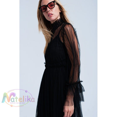 Layered Tulle Black Dress Women - Apparel - Dresses - Day To Night