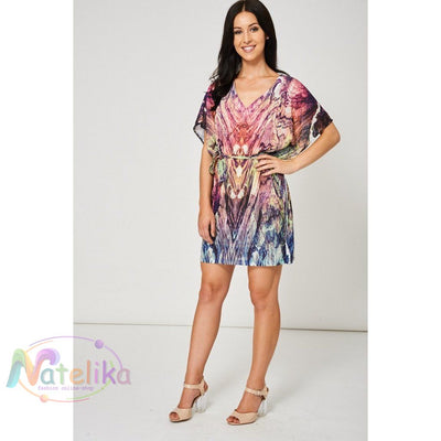 Pink Abstract Pattern Belted Dress Ex-Branded Women - Apparel - Dresses - Casual