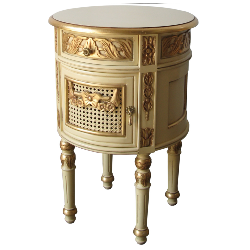 Reign luxury french circular bedside table with drawer storage reign luxury french circular bedside table with drawer storage serendipity home interiors watchthetrailerfo