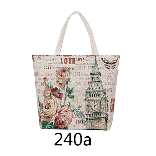 European Style Canvas Tote Floral Beach Bag For Girls