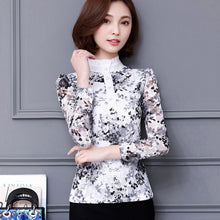 Slim Pirnted shirt long-sleeved lace Tops
