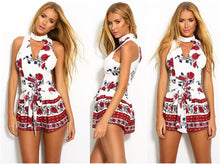 Hollow Out Boho Red Floral Print Elegant Jumpsuit Romper