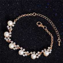 Luxury Gold-Color Crystal Cubic Zircon Pearl Beads Bracelet For Women