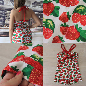 vintage suspenders jumpsuit shorts pocket pin up strawberry printing