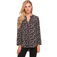 Vintage Women Roll-Up Cuffed Sleeve Shirts Floral Print