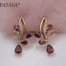 Pomegranate Red Water Drop Natural Zirconia Dangle Earrings For Women