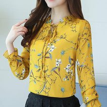Chiffon Tops Long Sleeve Floral Print