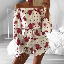 Floral Print Rompers Jumpsuits women Sexy off shoulder Overalls