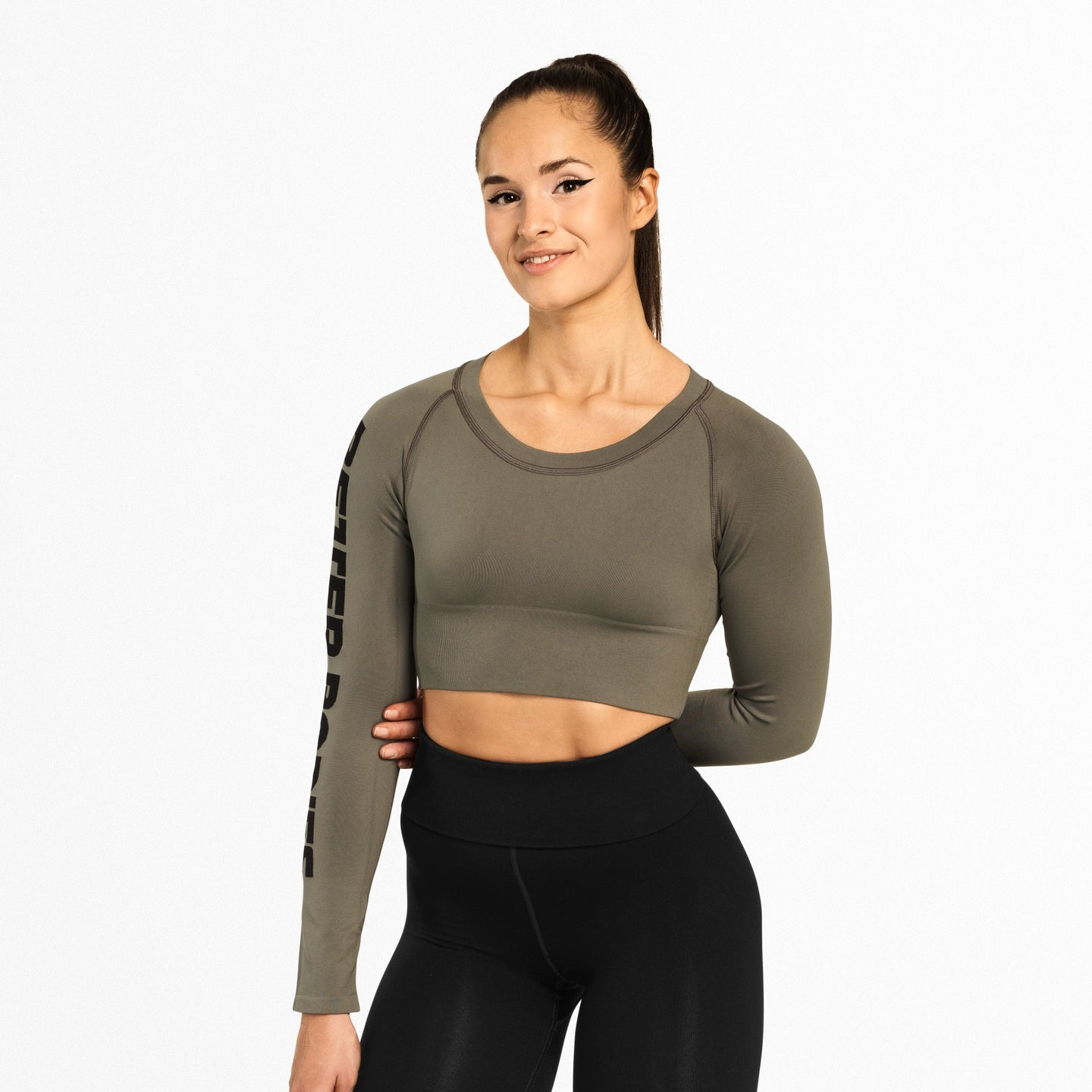 Image of   BETTER BODIES - BOWERY CROPPED LONG SLEEVE WASH GREEN