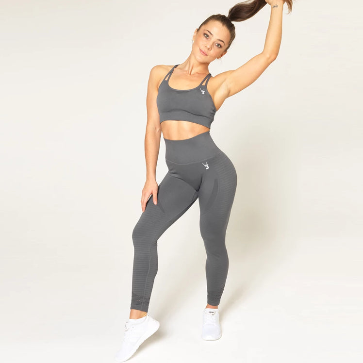 V3 APPAREL - CONTOUR SEAMLESS SPORTS BRA GREY