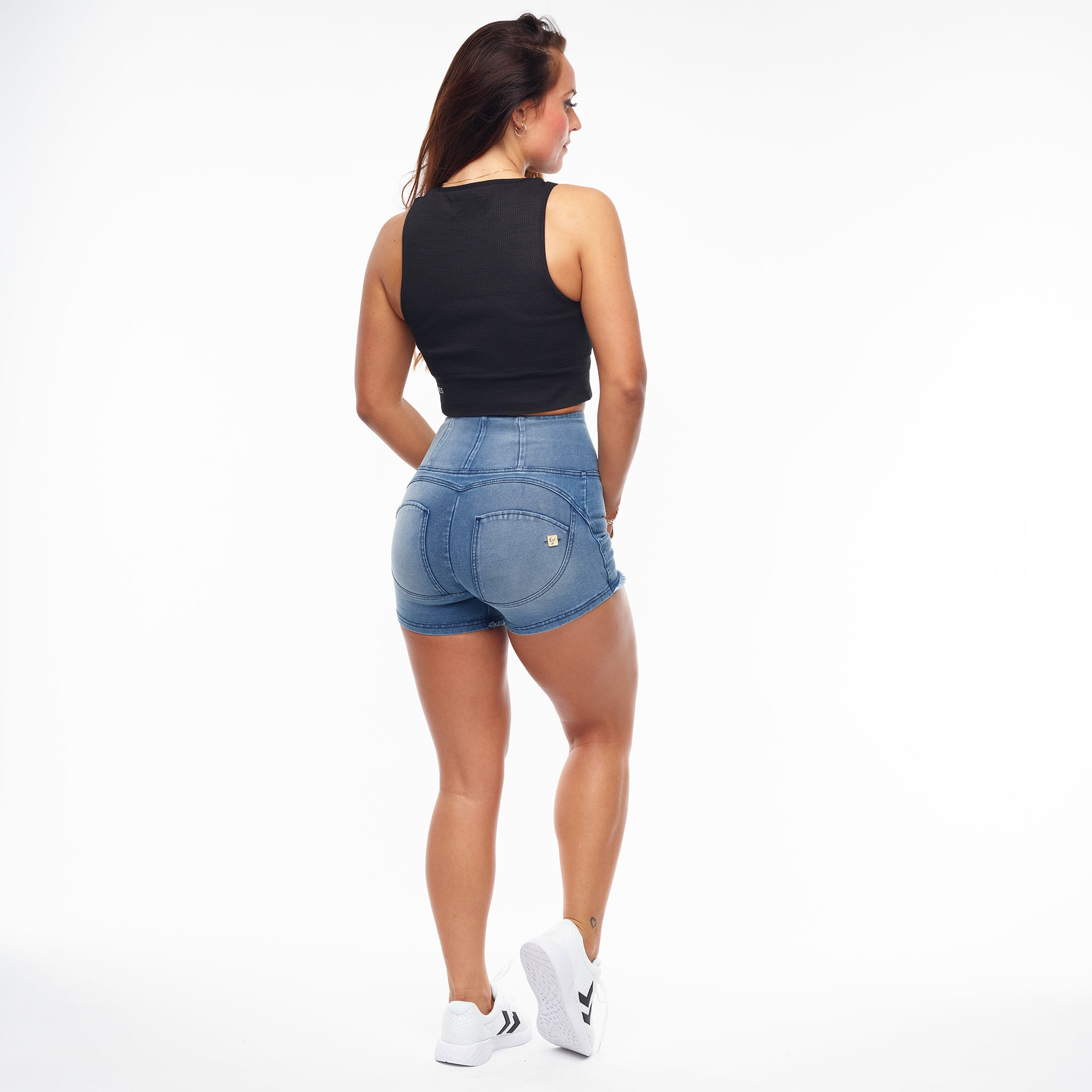 FREDDY WR.UP® HIGH WAIST SHORTS - DENIM LYS BLÅ