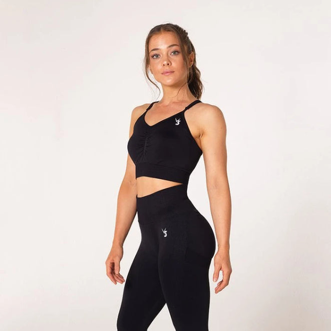 V3 APPAREL - DEFINE SEAMLESS SPORTS BRA BLACK