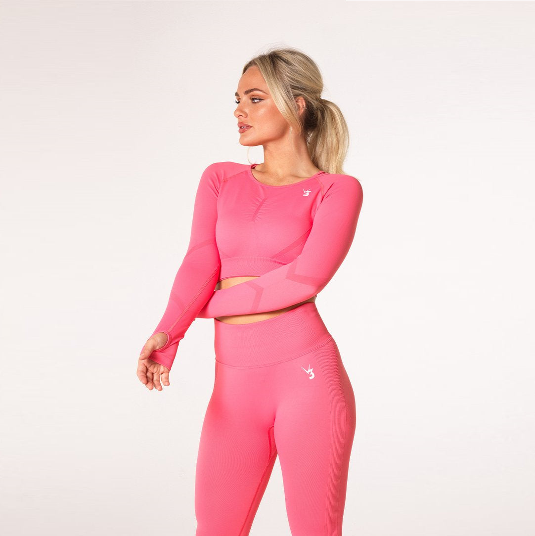 V3 APPAREL - DEFINE CROP LONG SLEEVE CORAL