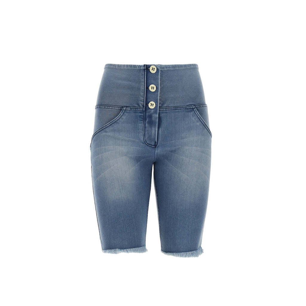 FREDDY WR.UP® HIGH WAIST BIKER SHORTS - DENIM LYS BLÅ