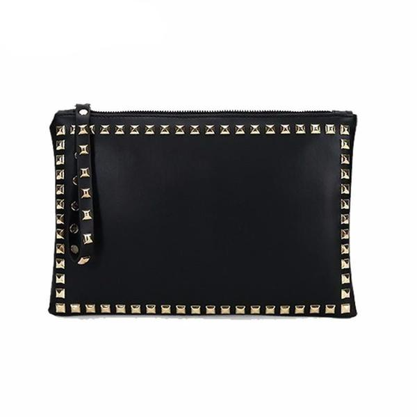 gold studs big envelope clutch