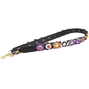 Black Colorful Flowers Strap