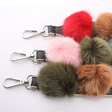 Fur Pompom Leather Strap