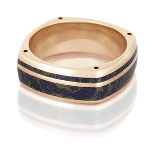 Lapis Lazuli Mokume Wedding Band, 14k Rose Gold Ring With Side Accents - DJ1003RG
