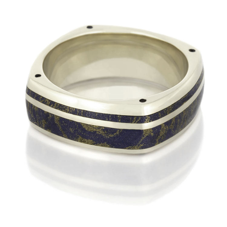 14k White Gold Wedding Band, Lapis Lazuli Ring With Corner Accents - DJ1003WG