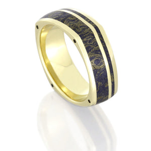 Yellow Gold Square Ring with Lapis Lazuli Mokume