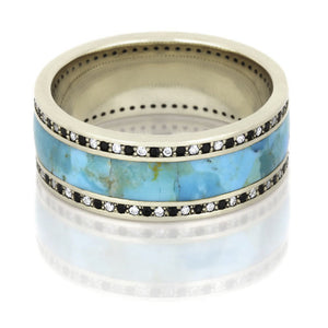 Aquarius │ White Gold Eternity Band with Turquoise Inlay - DJ1005WG