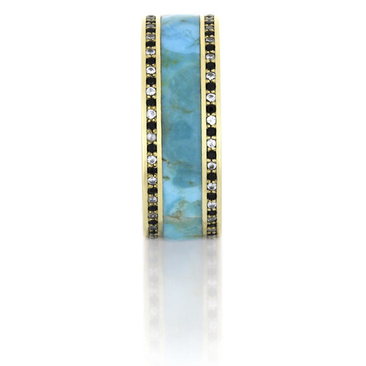 Diamond Eternity Band, Turquoise Ring in 14k Yellow Gold - DJ1005YG