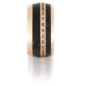 Fossilized Dinosaur Bone Ring, 14k Rose Gold Eternity Band With Gemstones - DJ1006RG