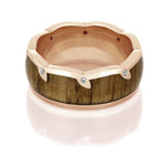 Oak Wood Wedding Band With Diamond Accents, 14k Rose Gold Ring - DJ1007RG