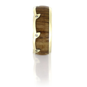 Oak Wood Wedding Band, 14k Yellow Gold Diamond Eternity Ring - DJ1007YG