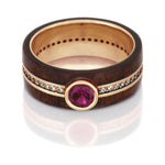 Ruby Eternity Ring, 14k Rose Gold Band With Rosewood - DJ1008RGRuby Eternity Ring, 14k Rose Gold Band With Rosewood - DJ1008RG