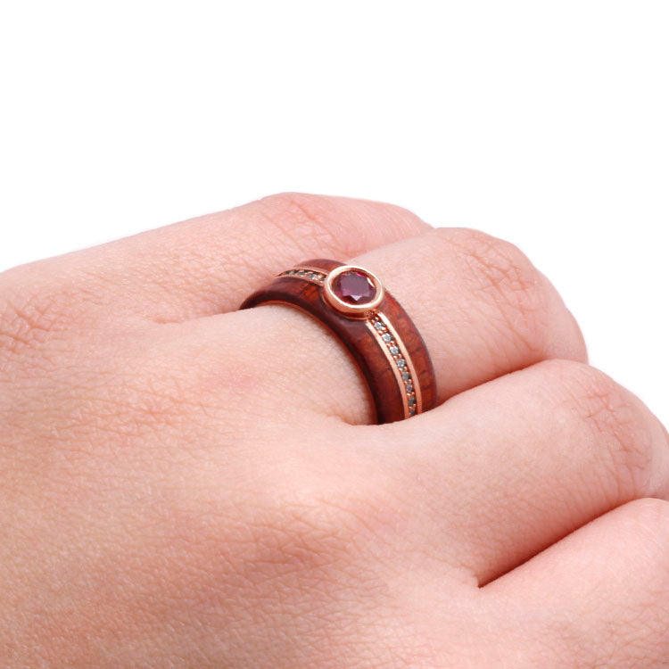 Phoenix | Ruby Eternity Ring, 14k Rose Gold Band With Rosewood - DJ1008RG