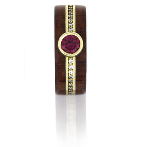 Ruby Ring With Diamond Eternity Band And Rosewood in 14k Yellow Gold - DJ1008YG