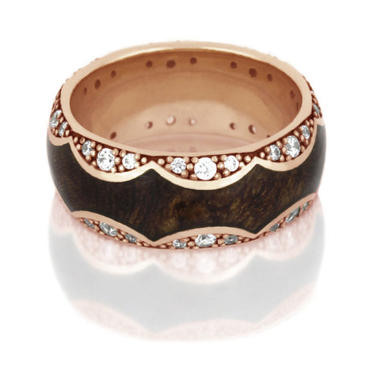 Unique Diamond Eternity Band in 14k Rose Gold With Mesquite Burl - DJ1009RG