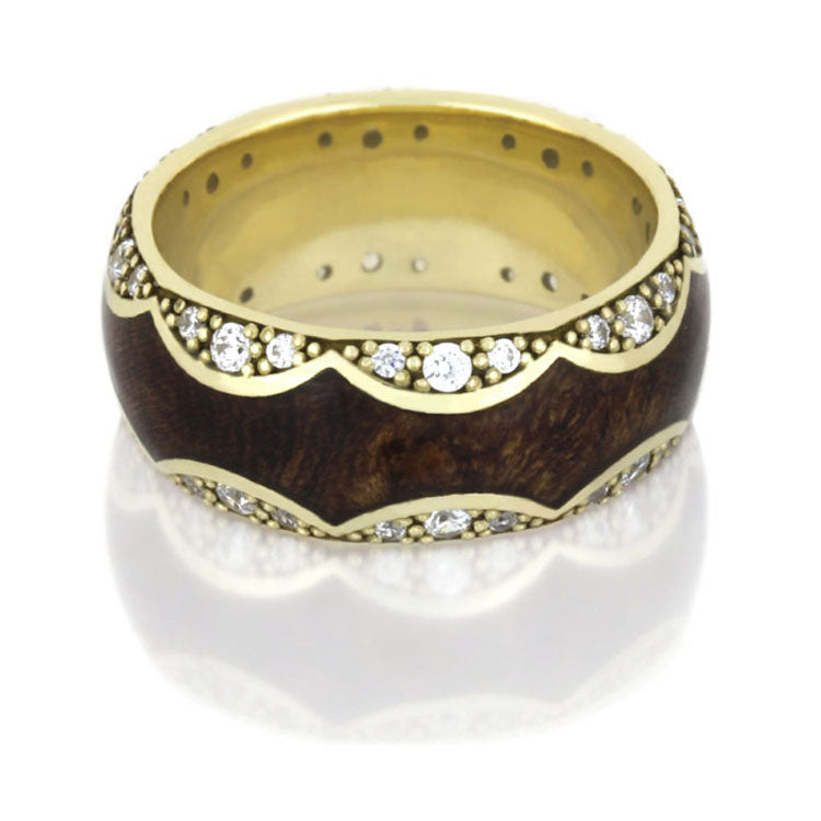 Mesquite Burl Wood Ring, 14k Yellow Gold Diamond Eternity Wedding Band - DJ1009YG