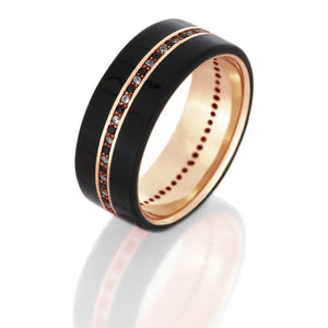 Donovan | Diamond Eternity Band, Ebony Wood Ring in 14k Rose Gold - DJ1001RG