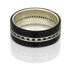Diamond Eternity Ring in 14k White Gold, Ebony Wood Band - DJ1001WG