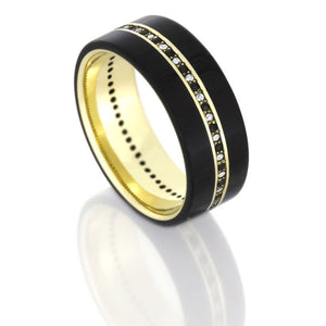 Ebony Wood Band With Diamonds, 14k Yellow Gold Eternity Ring - DJ1001YGEbony Wood Band With Diamonds, 14k Yellow Gold Eternity Ring - DJ1001YG