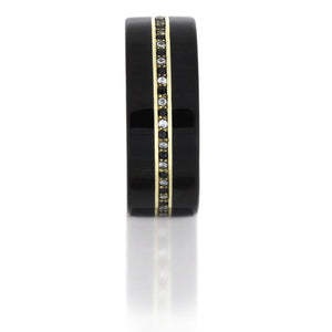 Ebony Wood Band With Diamonds, 14k Yellow Gold Eternity Ring - DJ1001YG