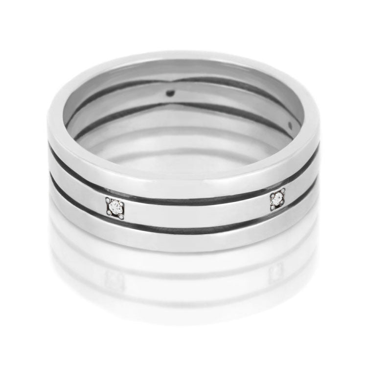 Stacked Ring, Diamond Eternity Band in Platinum - DJ1002PT