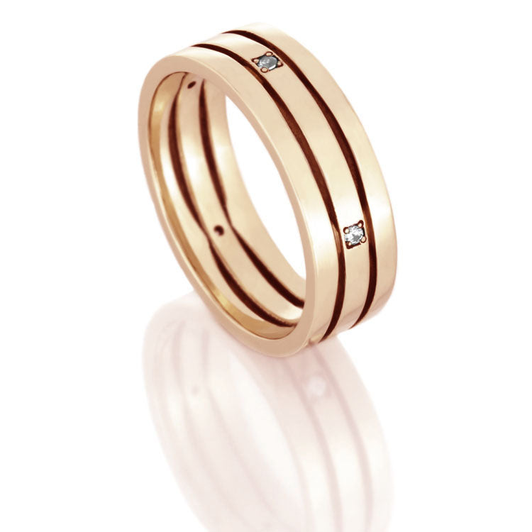 14k Rose Gold Wedding Band, Diamond Eternity Ring - DJ1002RG