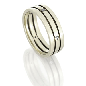 14k White Gold Ring, Diamond Band With Stacked Design - DJ1002WG