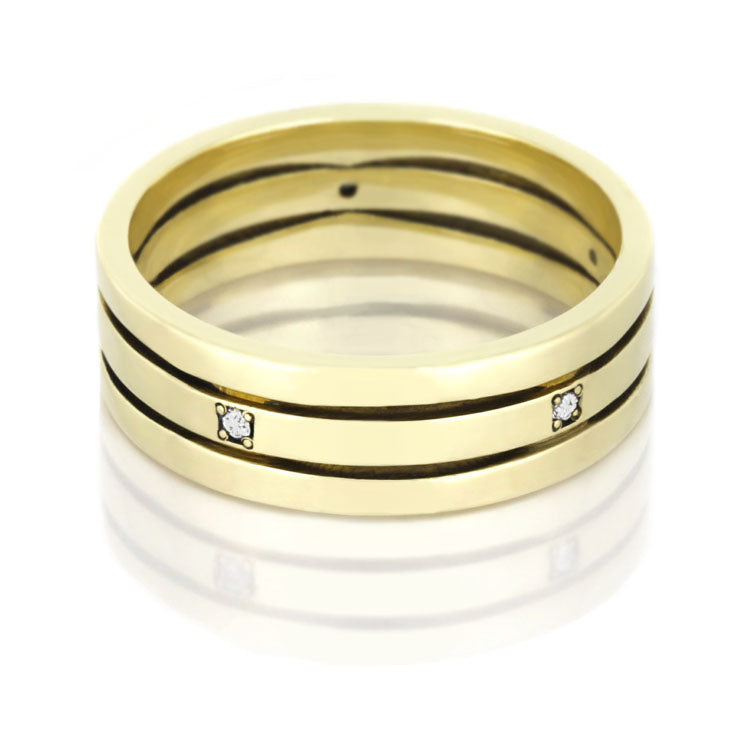 Diamond Eternity Ring, Stacked 14k Yellow Gold Band - DJ1002YG