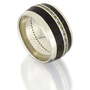 Dinosaur Bone Wedding Band, 14k White Gold Gemstone Eternity Ring- DJ1006WG