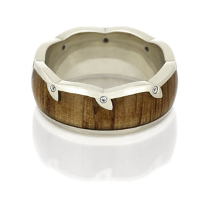 Oak Wood Wedding Band, 14k White Gold Diamond Ring - DJ1007WG