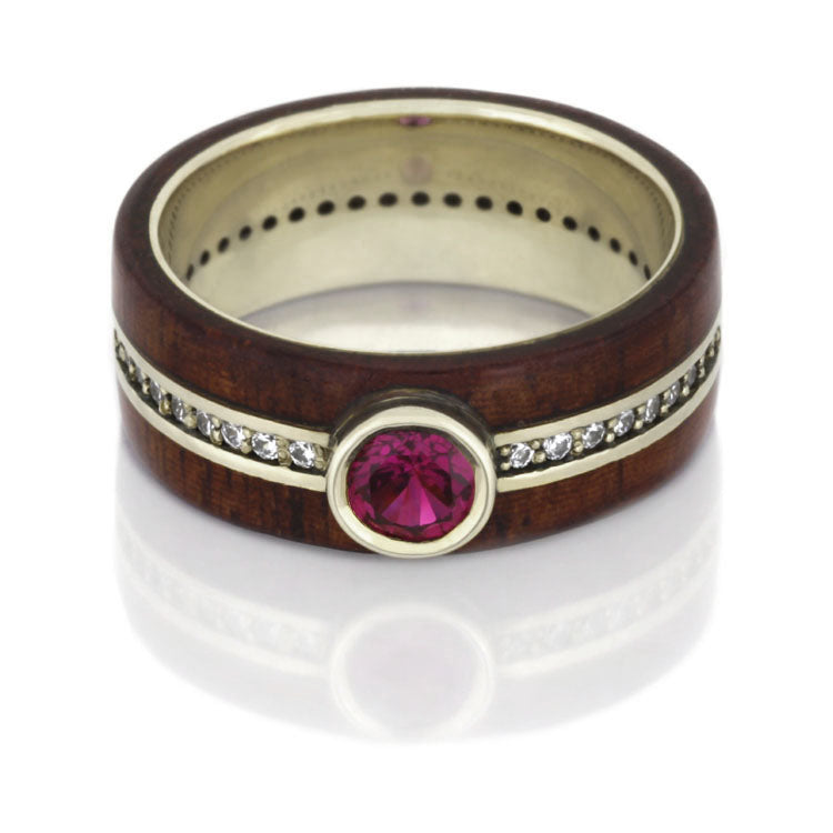 Ruby Wedding Ring, Diamond Eternity Ring With Rosewood in 14k White Gold - DJ1008WG