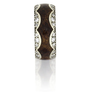 14k White Gold Diamond Eternity Ring, Mesquite Burl Wood Band - DJ1009WG14k White Gold Diamond Eternity Ring, Mesquite Burl Wood Band - DJ1009WG